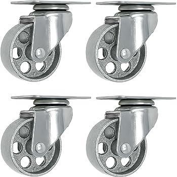 """4 All Steel Swivel Plate Caster Wheels Heavy Duty High-Gauge Steel Gray (3"""" Plate)"""