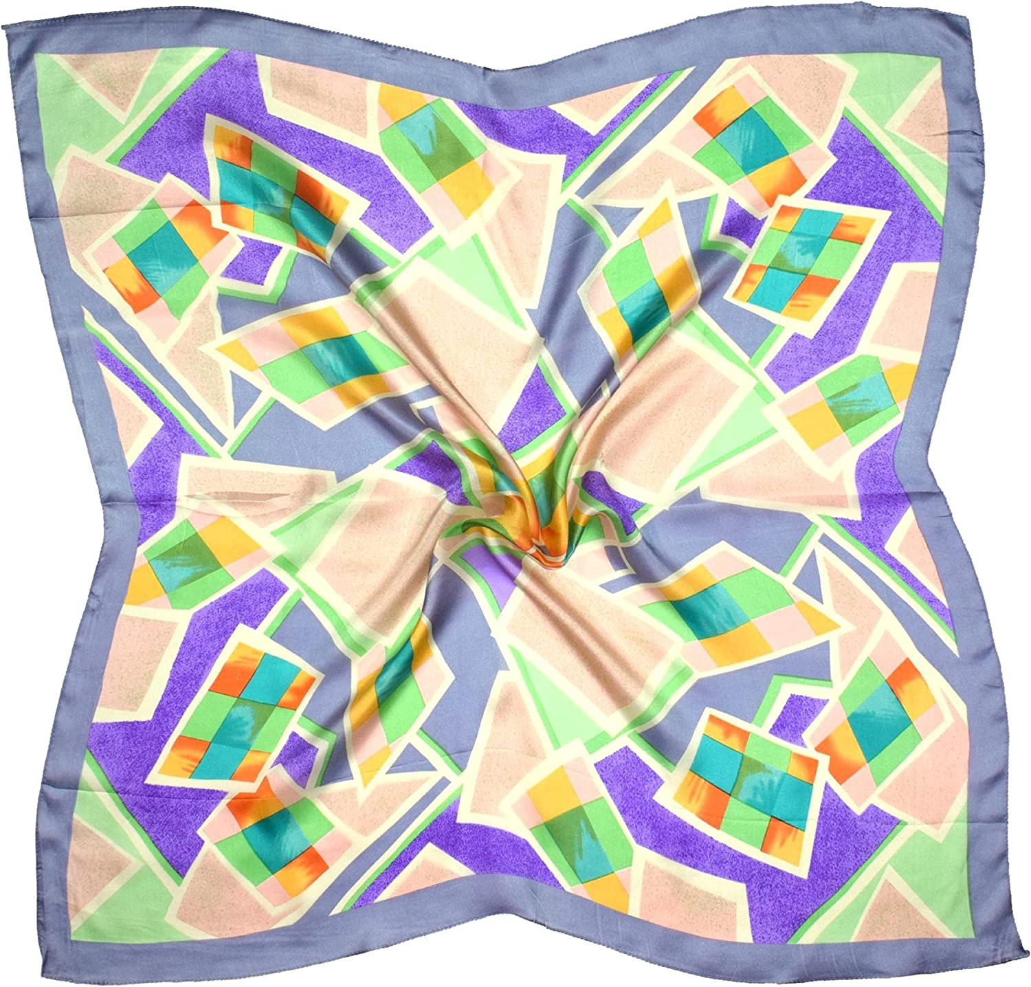 Grey Green Abstract Print Silk Square Scarf