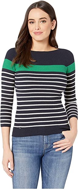 Cotton-Blend Boat Neck Sweater
