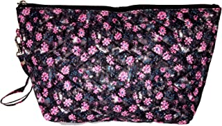 Quilted Cosmetic Make Up Clutch Pouch Bag, (Blank - Black - Pink Flower Print)