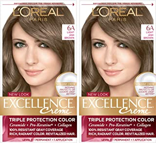 L'Oreal Paris Excellence Creme Permanent Hair Color, 6A Light Ash Brown, 2 Count 100% Gray Coverage Hair Dye