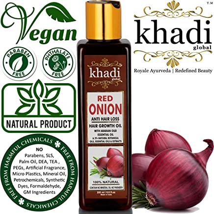 KHADI GLOBAL RED ONION HAIR OIL FOR HAIR GROWTH WITH PURE ARGAN, JOJOBA, ROSEMARY, BLACK SEED OIL IN PUREST FORM VERY EFFECTIVELY CONTROL HAIR LOSS, PROMOTES HAIR GROWTH 100% NATURAL HAIR FOOD 200ml/6.76 fl.oz