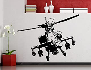 Awesome Decals Apache Helicopter Wall Decal Aircraft Air Forces Military Copter Vinyl Sticker Home Nursery Kids Boy Girl Room Interior Art Decoration Any Room Mural Waterproof Vinyl Sticker (214xx)
