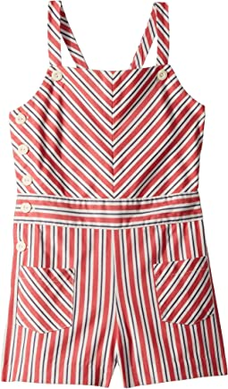 Striped Bow-Back Cotton Romper (Little Kids)