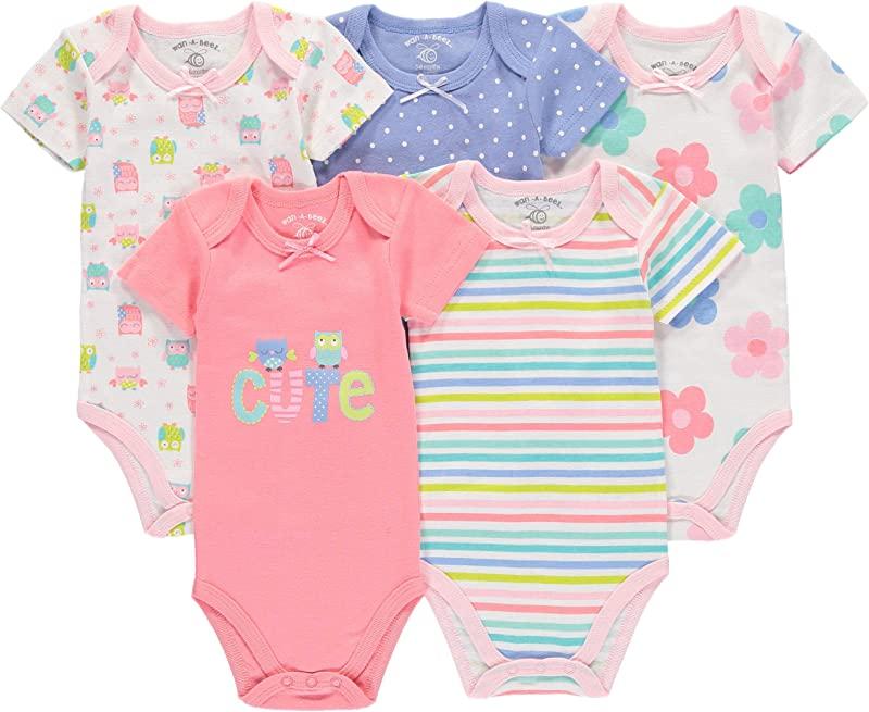 Wan A Beez 5 Pack Baby Girls And Boys Newborn And Infant Cotton Short Sleeve Bodysuits
