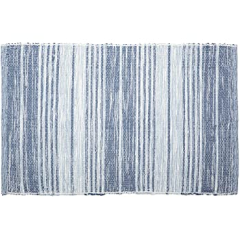 DII Contemporary Reversible Machine Washable Recycled Yarn Area Rug for Bedroom, Living Room, and Kitchen, 2'x3', Variegated Stripe French Blue