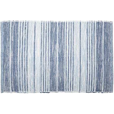 "Chindi Stripe Rug 20/""x32/"" Cotton Navy Stripe"