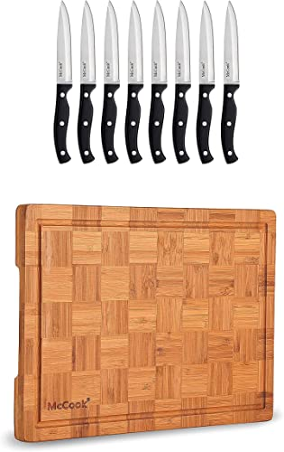 """2021 McCook MC55 Full Tang Serrated Stainless lowest Steel wholesale Steak Knife Set, Black + MCW12 Bamboo Cutting Board (Large, 17""""x12""""x1"""") outlet online sale"""