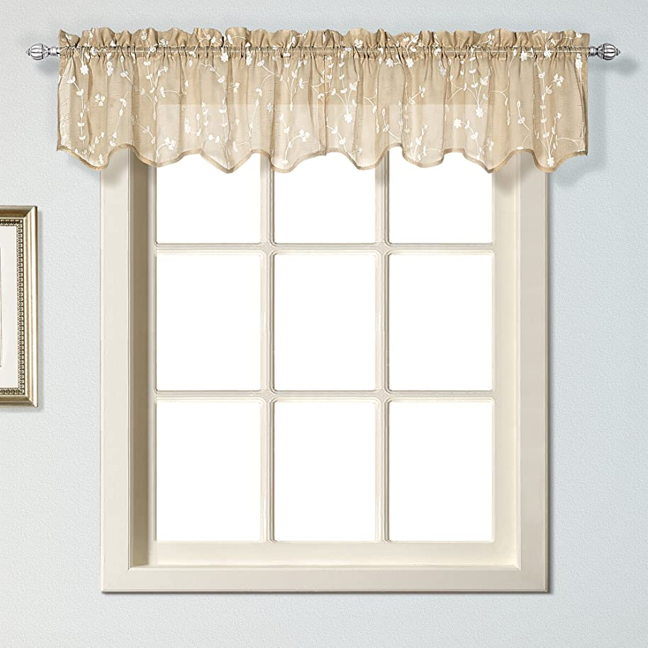 United Curtain Savannah Shaped Valance, 51 by 13-Inch, Taupe