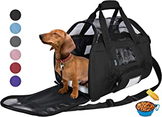 Tirrinia Soft Sided Pet Travel Carrier for Small Dogs and Cats Puppy Small Animals Airline Approved | Removable Sherpa Lining Bed, Built-in Collar Buckle, Lost & Found Tag Included