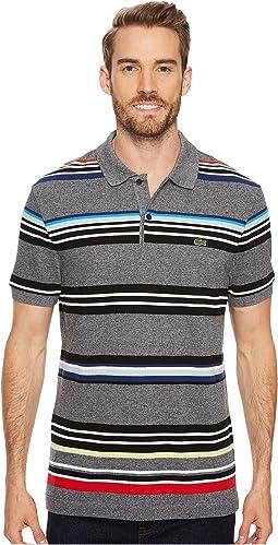 Lacoste - Short Sleeve Mouline Striped Heavy Pique Jaspe Polo - Regular Fit