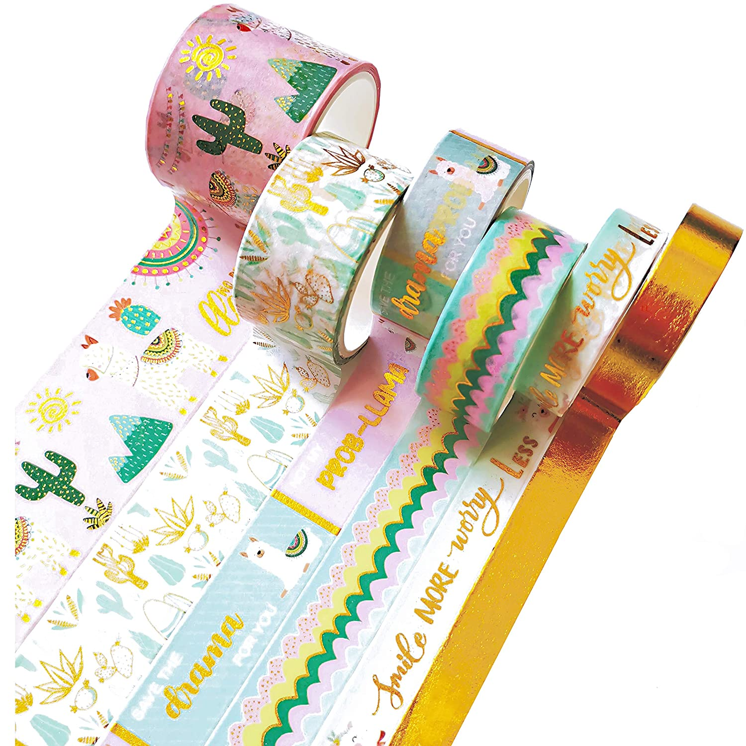 6 Rolls Washi Tape Set Max 81% OFF Cute Word Gold Foil Max 68% OFF Plant Animal Flower