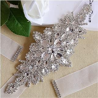 QueenDream Rhinestone Bridal Belt Wedding Dress Belts sash with Organza Ribbon Handmade headhand Formal Waist Belt