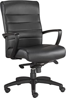 Eurotech Seating Manchester Mid Back Leather Chair, Black