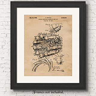 Original Airplane Jet Engine Patent Poster Prints, Set of 1 (11x14) Unframed Photo, Great Wall Art Decor Gifts Under 15 for Home, Office, Man Cave, Pilot, College Student, Teacher, NASA & Aviation Fan