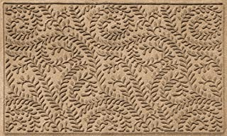 Bungalow Flooring Waterhog Indoor/Outdoor Doormat, 3' x 5', Made in USA, Skid Resistant, Easy to Clean, Catches Water and Debris, Boxwood Collection, Khaki/Camel