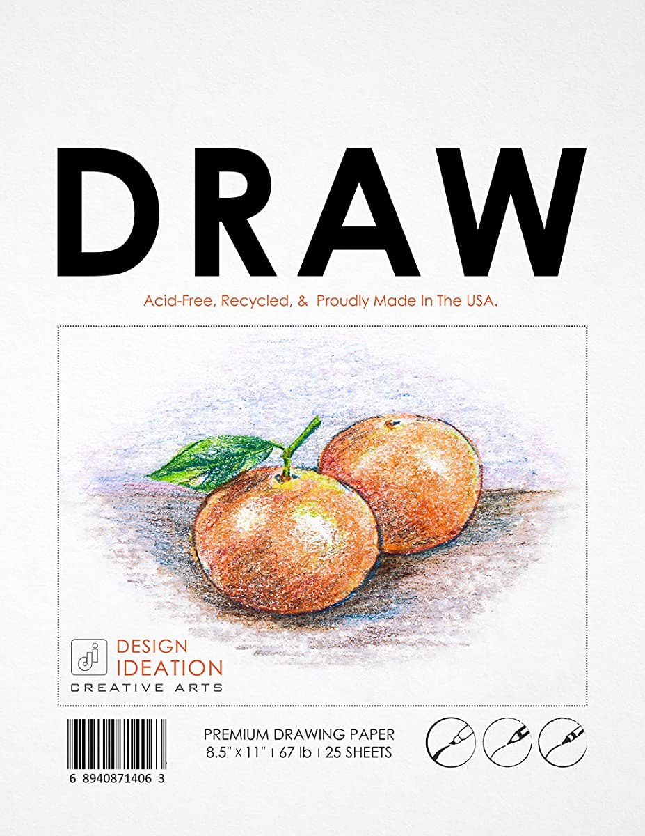 Premium Drawing Paper Pad for Pencil, Ink, and Marker. Great for Art, Design and Education. (8.5