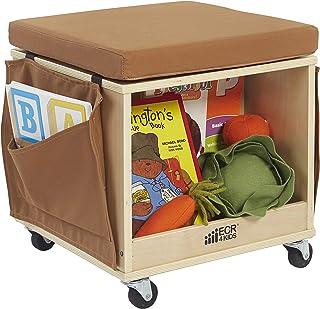 ECR4Kids Birch Hardwood and Canvas Mobile Teacher Stool with Storage