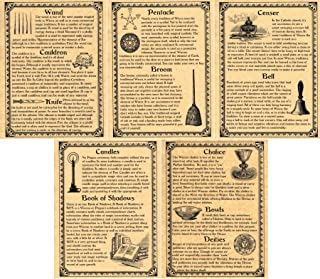 Book of Shadows Pages, Set of 5 Pages on Wiccan Ritual Tools and Supplies, Wicca, Witchcraft, like Charmed (Gold)