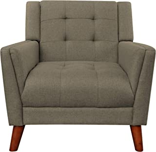 Christopher Knight Home Evelyn Mid Century Modern Fabric Arm Chair, Mocha, Walnut