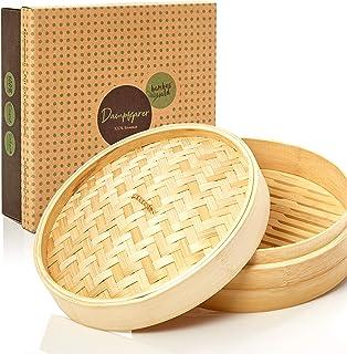 bambuswald©Vaporera de bambú de alta calidad - Ø 25 cm   Cesta de bambú - Cesta de vapor para carne pescado verduras arroz y Dim Sum   Recipiente tradicional para la cocción al vapor
