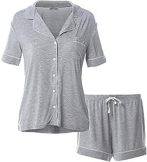 Matt Viggo Pajamas for Women Shorts Pajama Sets Pjs Sleepwear Button Up Shirt, Grey, S