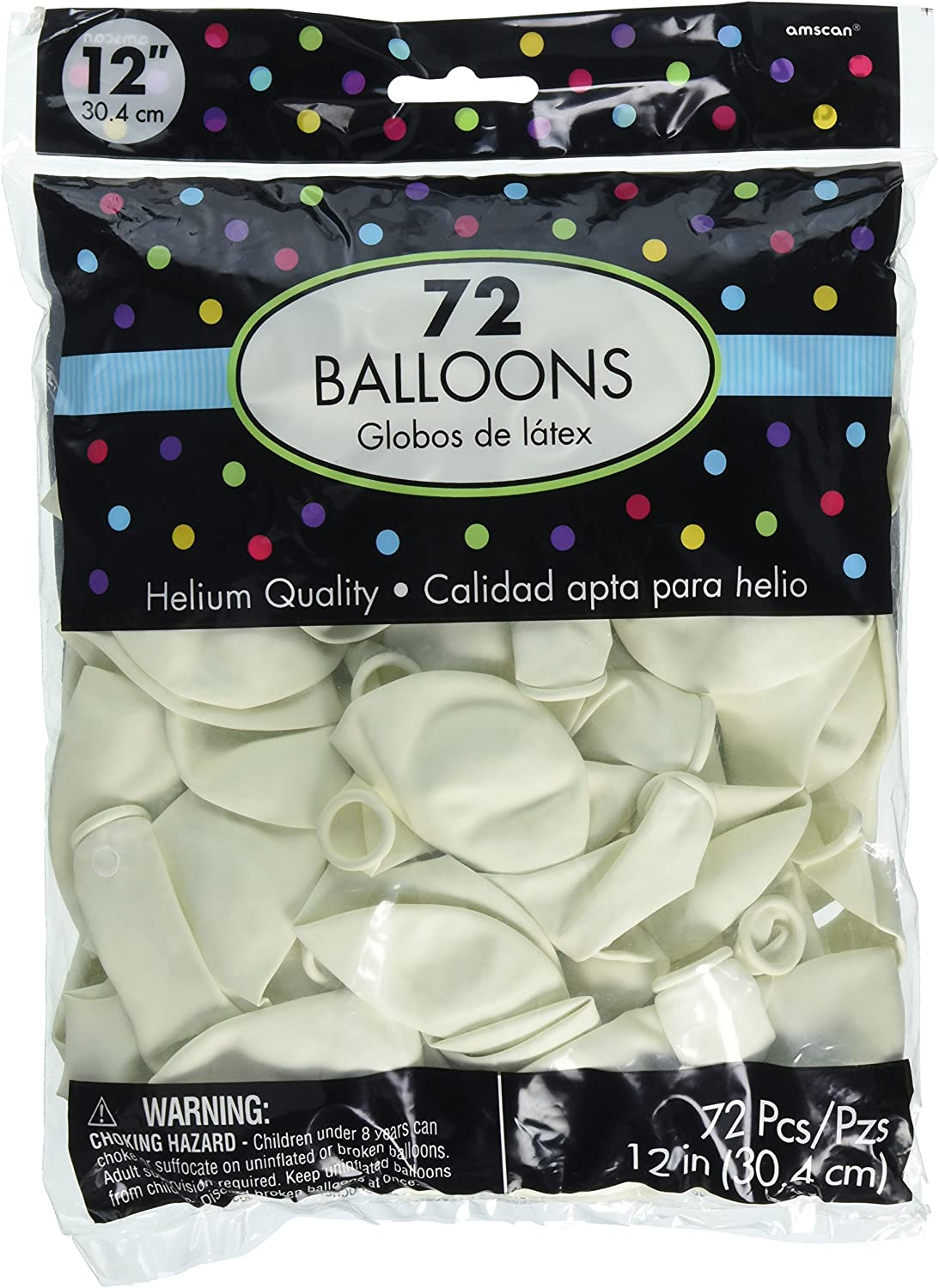 Amscan Party Perfect Plain Balloon Decorations, White, Latex, 12 , Pack of 72 Others Supplies (288 Piece)