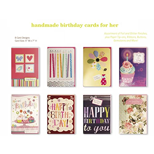 Birthday Cards Assorted Handmade Embellished Cards Box Set Bulk Assortment for Her Birthday, 8 Piece