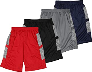 Active Club Boys' 4-Pack Mesh Active Athletic Performance Basketball Shorts with Pockets