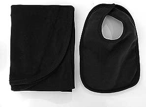 Black receiving blanket 30x40 + bib, 2-piece pack, 100% cotton