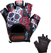 Contraband Pink Label 5237 Womens Design Series Sugar Skull Lifting Gloves (Pair) - Lightweight Vegan Medium Padded Microfiber Amara Leather w/Griplock Silicone
