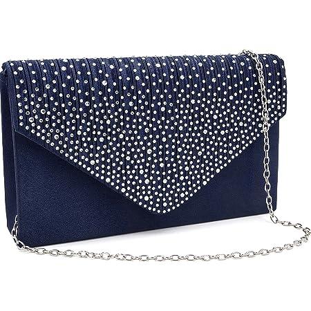 Milisente Damen Abendtasche Glitter Clutch Hochzeit Schultertasche Elegante Handtasche Abendtasche marineblau (Blau/blaue clutch)