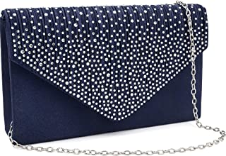 Milisente Damen Abendtasche Glitter Clutch Hochzeit Schultertasche Elegante Handtasche Abendtasche marineblau (Blau/blaue ...