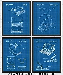 Original Steve Jobs Computer Blueprint Wall Art: Unique Room Decor for Boys, Girls, Men & Women - Set of Four (8x10) Unframed Pictures - Great Gift Idea for Computer Geeks & Apple Fans!