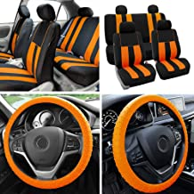 FH Group Fabric Full Set Seat Covers (Airbag & Split) w. Silicone Steering Wheel Cover Orange/Black- Fit Most Car, Truck, SUV, or Van