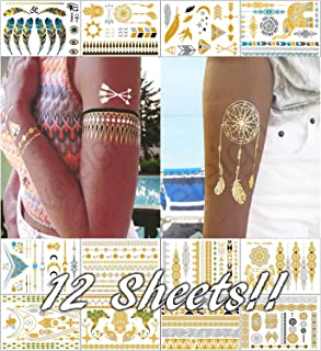 Metallic Temporary Tattoos for Women Teens Girls - 12 Sheets Gold Silver Temporary Tattoos Glitter Shimmer Designs Jewelry Tattoos - 150+ Color Flash Fake Waterproof Tattoo Stickers (Bequia)