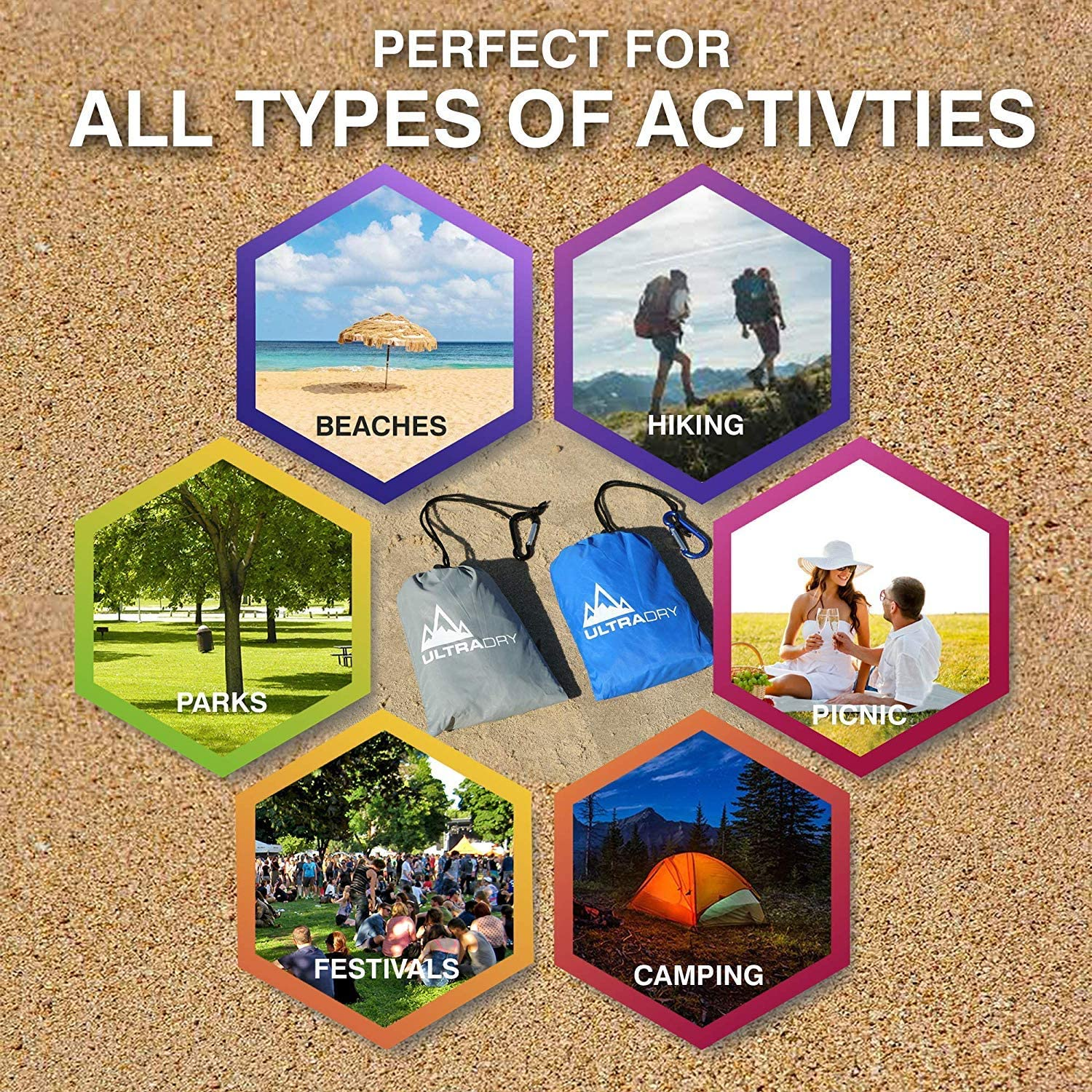 Camping Hiking Picnic Travel Ultra Dry Pocket Blanket Compact Foldable Outdoor Waterproof Sandproof Beach