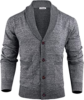 iClosam Mens Cardigan Lightweight Knitwear Button V-Neck Slim Fit Knitted Cardigans Sweater with Front Pockets