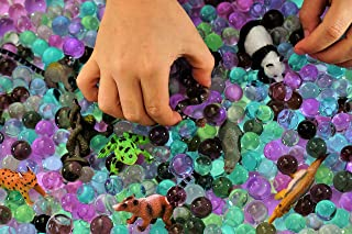 Dew Drops Water Beads Jungle Excursion Tactile Sensory Toys Bin Kit - Rain Forest Toy Animals Included