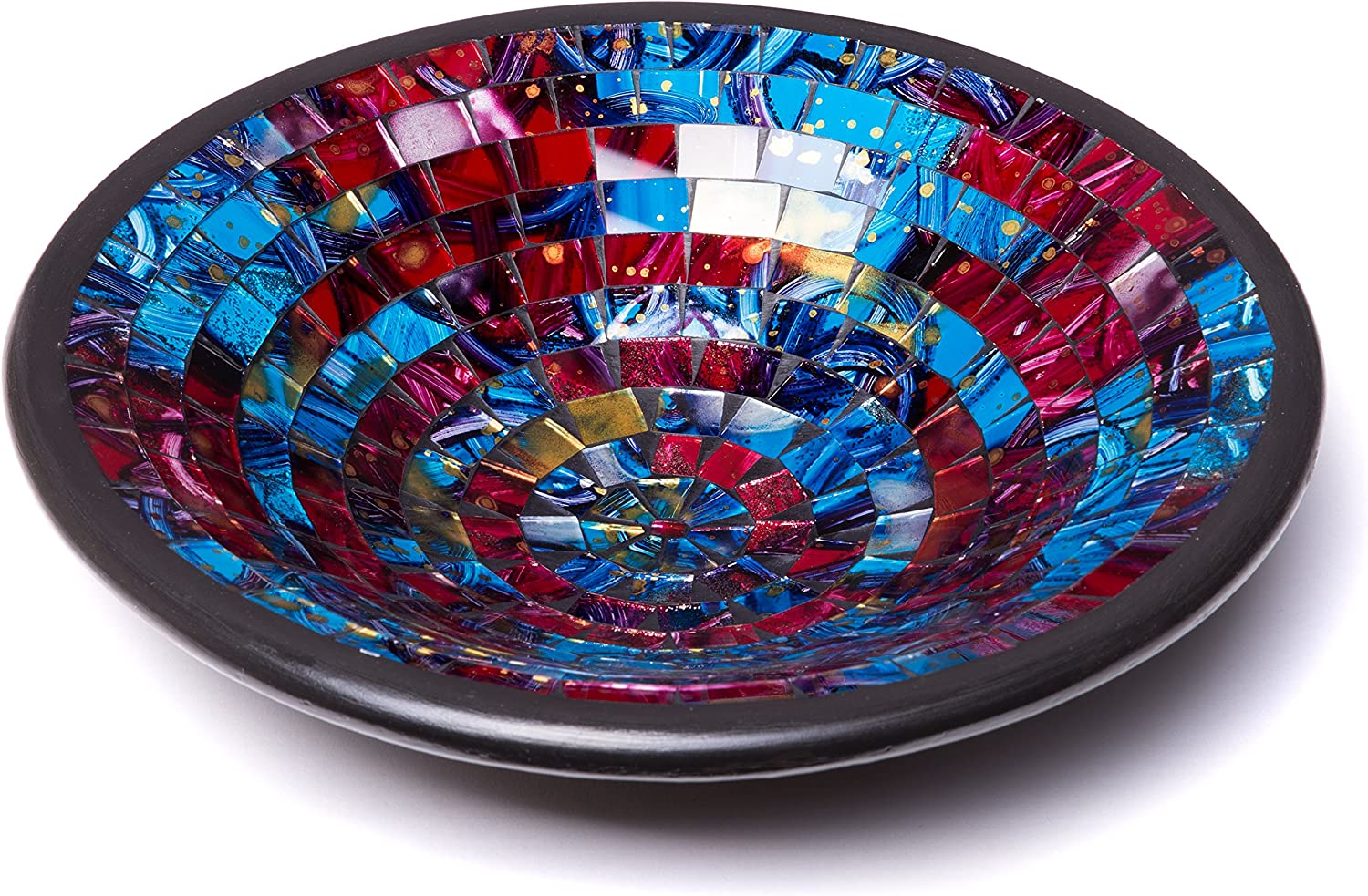11 Large Modern Style in Green /& Orange Colors for Living Room Glass Mosaic Round Accent Plate Platter Decorative Catch-All Tray Dish Centerpiece Bowl Hallway Console Side Table Decor Bedroom