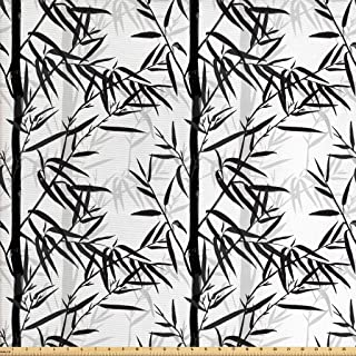Lunarable Bamboo Fabric by The Yard, Abstract Forest Leaves Floral Chinese Garden Plants Spa Summer, Decorative Fabric for Upholstery and Home Accents, 1 Yard, Charcoal Grey