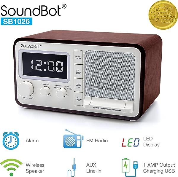 SoundBot Dual Alarm Clock FM Radio Bluetooth Wireless Portable Speaker 3W Output 1A USB Charging Port 30 Preset Station 12 24 Hour Mode Acoustic Premium Driver Hi Low Dimmer 3 5mm Aux Port SB1026