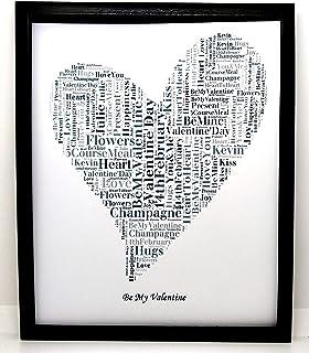 """Nuovo design personalizzato per regali con parole a forma di cuore""""San Valentino"""" (A). Presentato in cornice frontale in v..."""