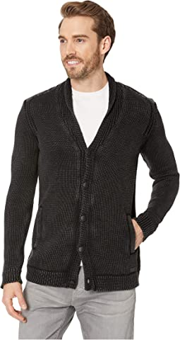 Shawl Cardigan with Woven Patches in Acid Wash