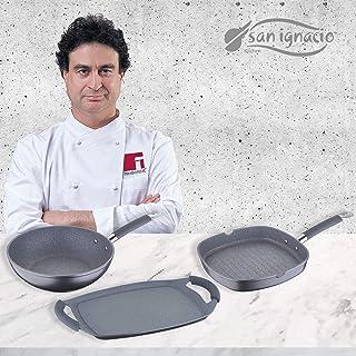San Ignacio MasterPro GRAN FORMATO-Grill 28x28, Wok 28 y Plancha Asador 36 cms, gris, inducción, aluminio forjado