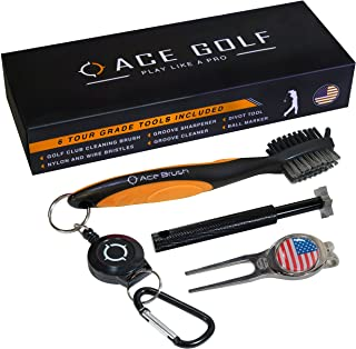 Golf Brush and Club Groove Cleaner Set with Divot Tool, Ball Marker, Groove Sharpener, 2 Ft Retractable Zip-line Aluminum ...
