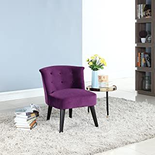 Divano Roma Furniture Classic and Traditional Living Room Velvet Fabric Accent Chair with Tufted Details (Purple)