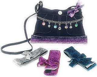 ~NEW~ Skirty Girls Inspirational Charm Holder Purse with (4) Interchangeable Glitter Ribbon Trims & Accessories Blue Jean Denim Girls Purses Cross body Handbag Love Dream Believe Pendants