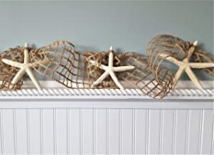 Beach Decor Starfish Garland - BROWN Nautical Decor White Starfish Garland, Nautical Netting 10 FEET, BROWN