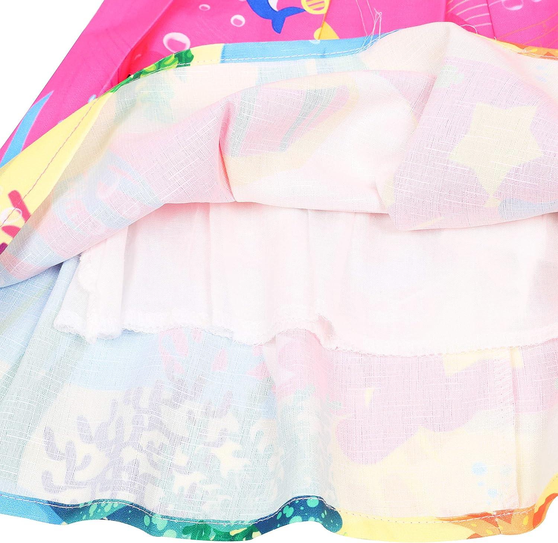 LQSZ Girls Dress Cute Print Pattern Sleeveless Party Dresses Red Pink 1-7 Years